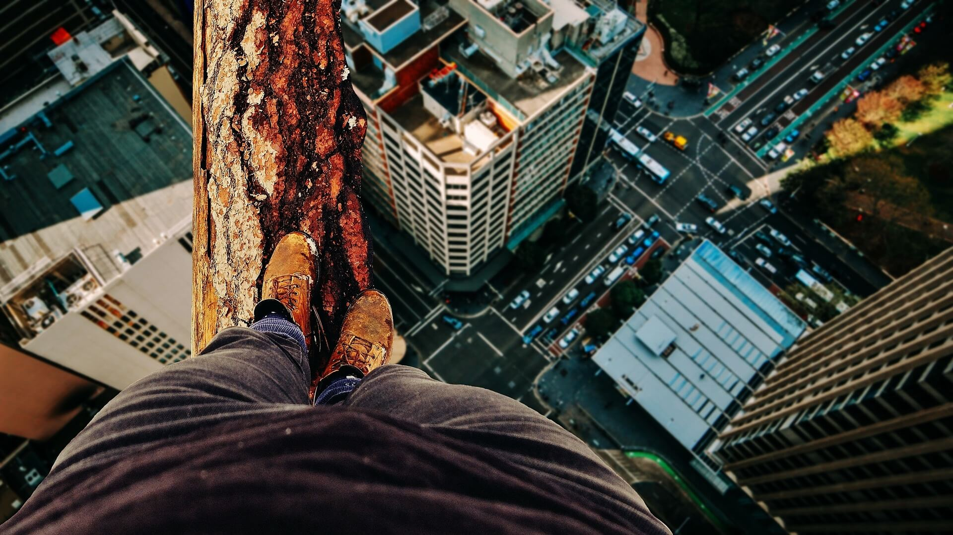 balancing on log above city