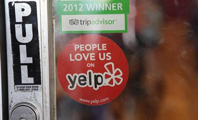 yelp sticker on store door