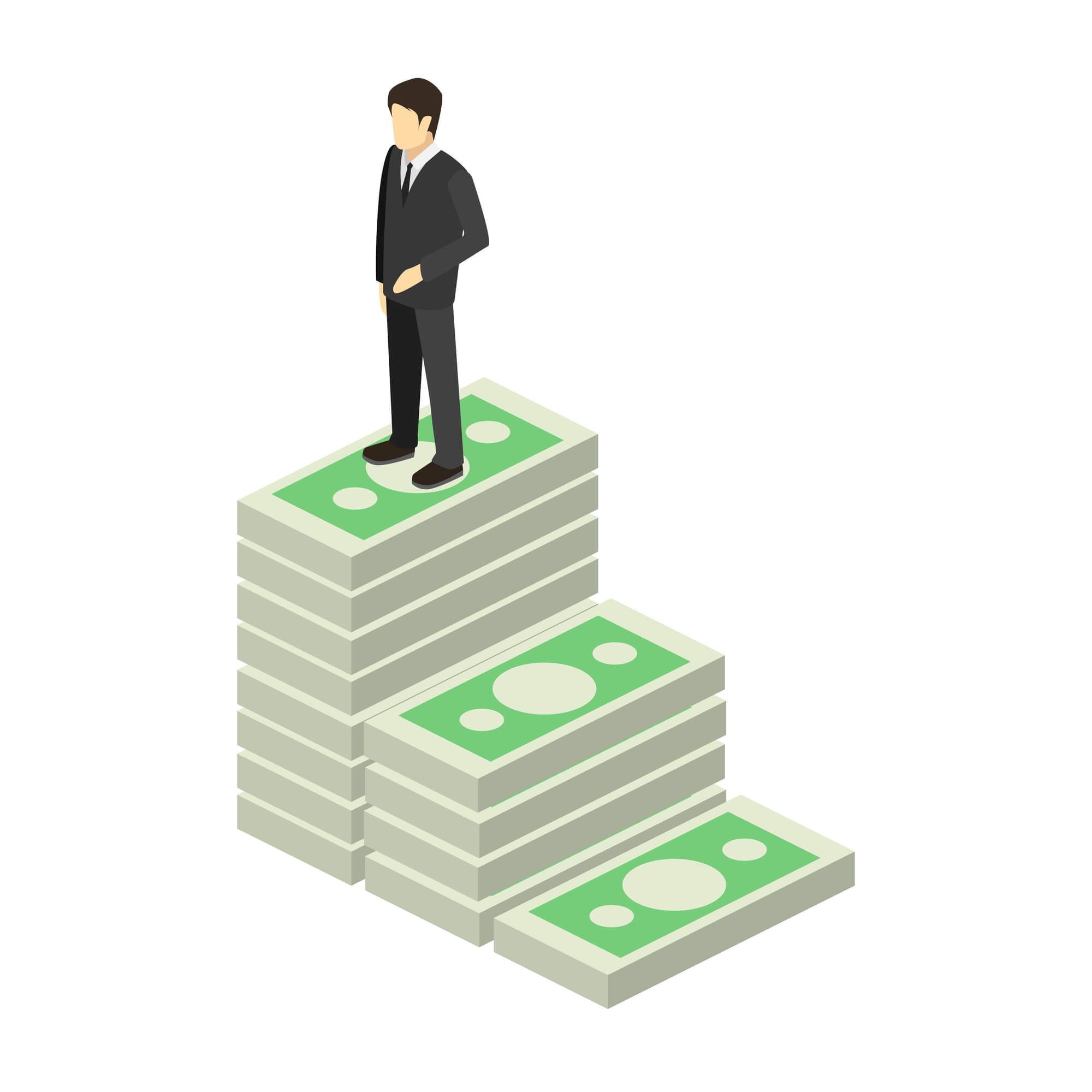 Cartoon man standing on money stairs