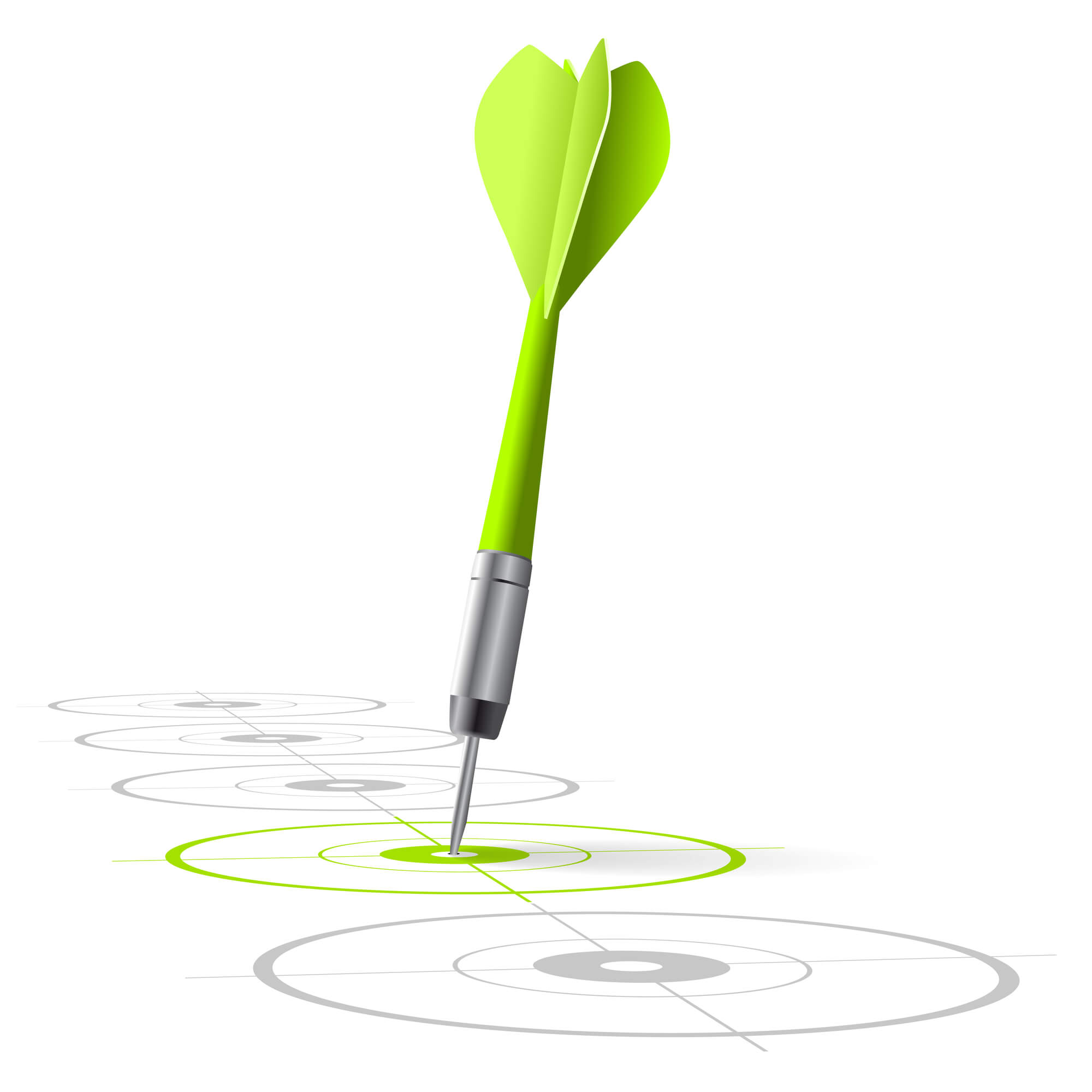 Green dart hitting a target