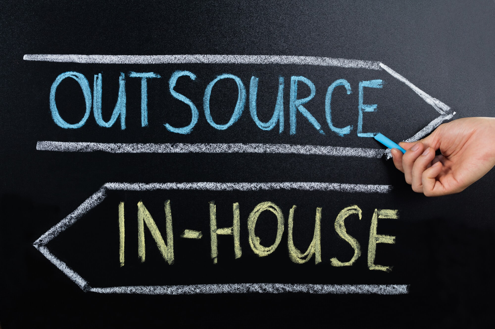 Outsource and In-House drawn on chalkboard with arrows