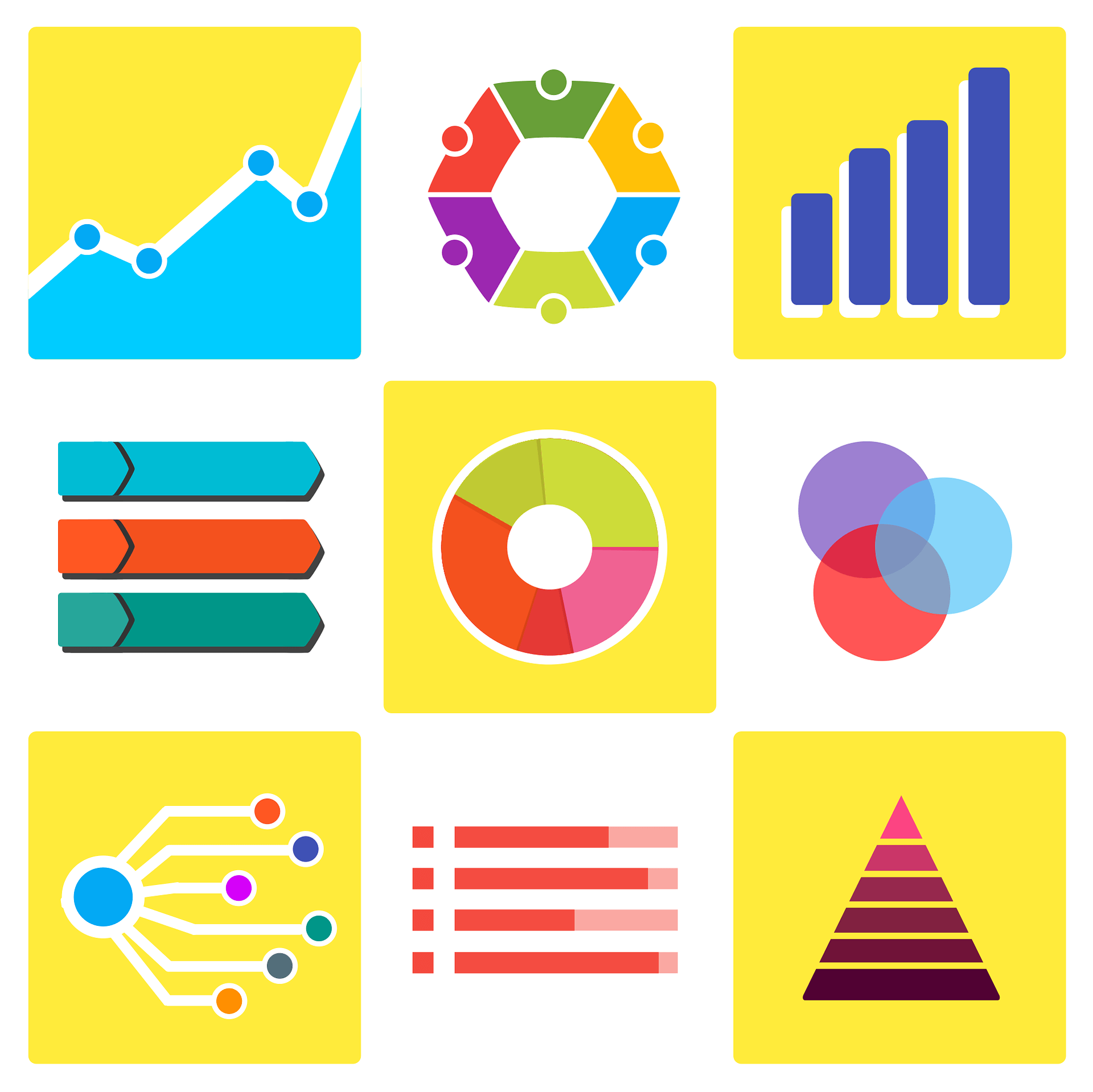graphic showing nine different chart styles for infographics