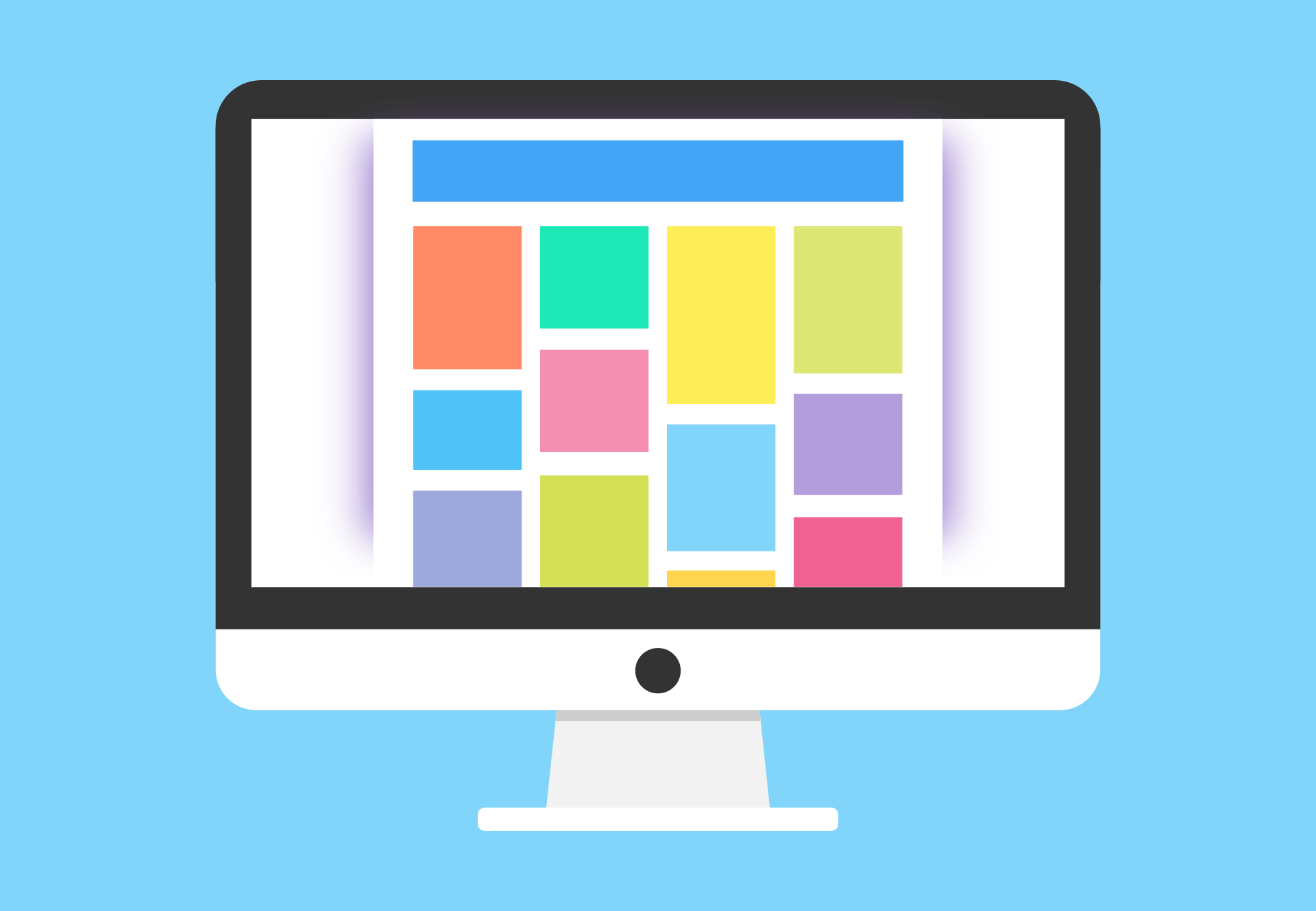 graphic of monitor with various colored squares representing images and text blocks